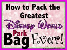 From little bitty kids to adults...How to pack the BEST Disney World Theme Park Bag Ever! (planning article)