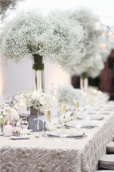 White Baby Breath Winter Wedding Centerpieces.