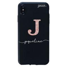 Capinha para celular Color Black Iniciais Glitter - Rosê - Gocase Tattoo Alphabet, Smartphone, Samsung Galaxy, Glitter Roses, Iphone Phone Cases, Name Canvas, Lipstick Colors, Initials, Names