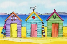Silk Painting paintings & artwork, SAA, Page 3 Beach Huts Art, Beach Art, Silk Painting, Stone Painting, Art Plage, Art Fantaisiste, Seaside Art, Happy Paintings, House Drawing