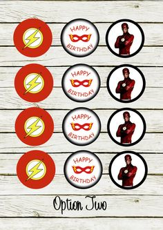Cupcake toppers The Flash inspired DIGITAL por InspiredPretties