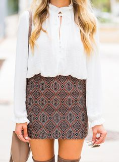 Mini Skirt + Over Knee Boots ( PERFECT fall outfit ) » Hustle + Halcyon