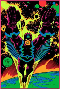 Black Bolt the Inhuman on a black light poster by Jack Kirby