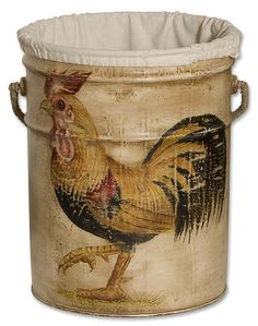 Rooster Bucket - Hand painted, recycled paint bucket with a cream linen liner and rope wrapped handle.  Designer: Matthew Williams.
