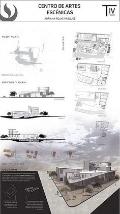 Panel Center for Performing Arts / Performing Arts Center Presentation Board - - . Poster Architecture, Concept Board Architecture, Architecture Site, Architecture Presentation Board, Architectural Presentation, Architecture Diagrams, Architectural Models, Architectural Drawings, Landscape Architecture