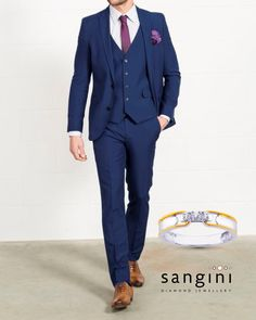 If you're the groom, steal the show with this stylish two piece suit length in blue. Team it with this classy #diamond studded #ring from #SanginiDiamondJewellery with a detailed gold border and watch her go weak kneed! #SanginiDiamondJewellery #rings #mensrings #weddingjewellery #diamond