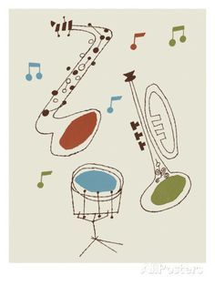 Drum, Saxophone and Trumpet Print by Pop Ink - CSA Images at AllPosters.com