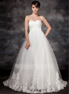 Empire Sweetheart Court Train Satin Tulle Wedding Dress With Appliques Lace Plus Wedding Dresses, Wedding Dress Trends, Cheap Wedding Dress, Wedding Gowns, Bridesmaid Dresses, Tulle Wedding, Quinceanera Dresses, Prom Gowns, Tulle En Satin