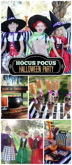 Three cute witches dress up at this Hocus Pocus movie themed Halloween party!  See more party planning ideas at CatchMyParty.com!