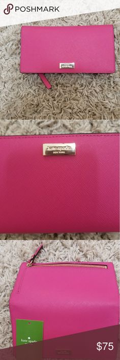 Pink Kate Spade Wallet Kate Spade New York has a special place in my heart. It adds a pop of color in my life. Like they say, New York is full of people who wear black and most of the time, even our bags are black too.   This wallet breaks the monotony. Love that? Then you'll love this too.   In awesome form, just a little scratch on the nameplate. kate spade Bags Wallets