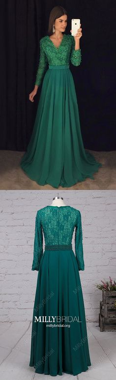 Long Prom Dresses with Sleeves,Hunter Green Formal Evening Dresses A-line,V-neck Military Ball Dresses Chiffon,Lace Wedding Party Dresses Long Sleeve #MillyBridal #hunterdress #promdresses #lacedress
