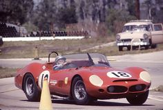 """Pedro Rodriguez in a NART Ferrari 330 TRI/LM at Sebring 1963    The """"Little Mexican"""" Pedro Rodriguez driving to a third place finish at Sebring 1963. His co-driver in this NART Ferrari 330 TRI/LM was Graham Hill. They led most of the race but their battery went bad toward the end and Hill was forced to drive parts of the track without lights. Hill would only turn on the lights when he passed the start/finish so the stewards were hoodwinked into thinking he was okay and they didn't black flag…"""