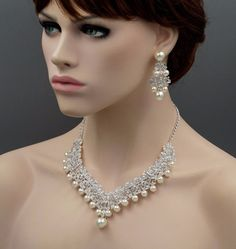 Silver Plated Crystal Pearl Necklace Earrings Bridal Wedding Jewelry Set for sale online Wedding Necklace Set, Silver Wedding Jewelry, Pearl Necklace Set, Wedding Jewelry Sets, Bridal Necklace, Bridal Jewelry, Glamour, Girls Jewelry, Videos