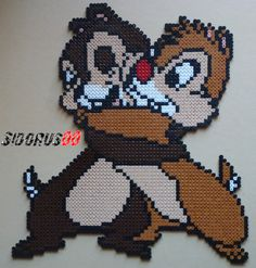 Chip and Dale hama perler beads by Sidorus00 (H= 36 cm L= 32 cm)