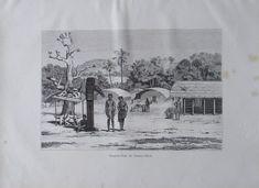 aus 1880 - Santhal-Dorf im Daman-i-Koh Indien - alter Druck Kunstblatt old print