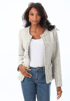 This fitted boucle jacket with feathery trim around the neckline, placket, and hem will turn heads every time you wear it. The khaki/light blue color complements most pants, dresses, and skirts. Hook-and-eye closure adds to its versatility. This is definitely on my wish list!  #LELspring