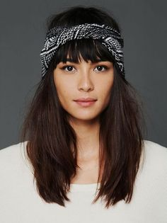 If you have medium-length hair, pair your choppy bangs with a graphic, mid-forehead headband. // #Hairstyles #Beauty