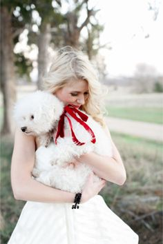 Bride with an adorable puppy   Alea Lovely Photography #wedding #dog