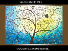Large Abstract Landscape Painting Original Modern Heavy Texture Impasto Palette Knife Tree Love Birds Wall Décor A New Life by QIQIGALLERY
