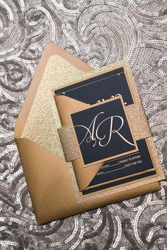 MATTHEW Suite Fancy Glitter Package, navy and gold, gold foil on navy paper, gold foil wedding invitations, gold glitter