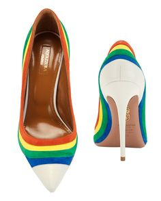 Aquazzura Rainbow Suede Pointy Toe Pump: Primary colored suede rainbow stripes outline the white leather pointy toe pumps. 4 1/2 heel. Leather soles. In white/rainbow. Fashion for tall women | tall clothing | tall style | tall ootd | long legs | tall clothes