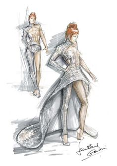 Jean Paul Gaultier on Jean Paul Gaultier, Illustration Sketches, Illustrations, Mystical Pictures, Costume Design Sketch, Chef D Oeuvre, Fashion Design Sketches, Fashion Books, Rock Style