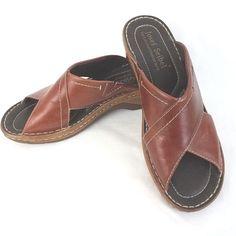 "Josef Seibel Criss Cross Women's Sandals Size 10 Leather Wedge 2"" High  #JosefSeibel #PlatformsWedges"