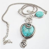 Two Hearts Genuine Turquoise Necklace 25. Starting at $5 on Tophatter.com!