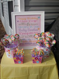 Love this...my cousin Misty did this for her little girls first birthday. So cute!Butterfly Birthday Subway Art & Lollipop display