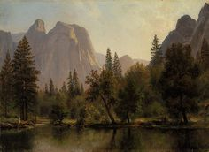 Albert Bierstadt Cathedral Rocks, Yosemite Valley art painting for sale; Shop your favorite Albert Bierstadt Cathedral Rocks, Yosemite Valley painting on canvas or frame at discount price. Landscape Art, Landscape Paintings, Edward Moran, Albert Bierstadt Paintings, Thomas Moran, Hollow Art, Hudson River School, California National Parks, Yosemite California