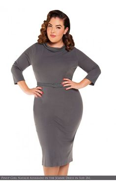 Laura Byrnes California- Joanie Dress in Grey - Plus Size | Pinup Girl Clothing