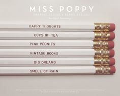 Necessities Pencils Set of 6 White by MissPoppyDesign on Etsy, $12.00