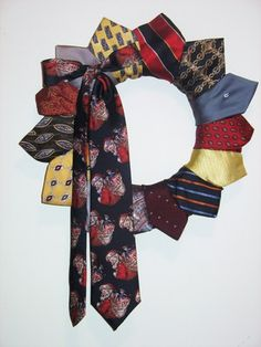 Who would have thought to make a funky, interesting wreath out of ties? Maybe I won't throw all of my hubby's old ties away!