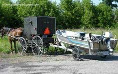 Amish guy has a motorized boat with wagon wheels on his trailer.