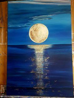 Moon over the Ocean @MyArtbyHelen  I stagram ... follow me