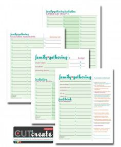 Print Free File: Printable Family Gathering Plan (color) or Printable Family Gathering Plan (gray scale) I'm planning a family gathering with my cousin this year! I thought a little planning guide might help keep us on track as we don't have a lot of time to pull it together...but then, it's a pretty casual gathering. This four-page printable planning set covers the basics with a invitation checklist, planning checklist, food/drink assignment checklist and MORE! If anythin...