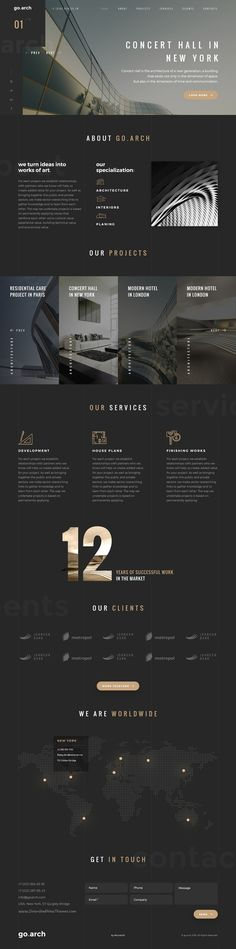 go.arch is a luxury, elegant and trendy #Bootstrap #template designed in two color styles: Dark & Light #architecture bureau, interior design, constructions, photographers and other corporate or creative websites download now➩ https://themeforest.net/item/goarch-architecture-interiors-real-estate-landing-page/18400070?ref=Datasata