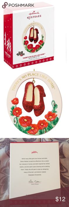 Hallmark 2017 There's No Place Like Home Ornament New in box hallmark wizard of oz ruby slippers there's no place like home. Accessorize your tree with a pair of sparkling red ruby slippers. This porcelain oval Christmas ornament features the famous shoes in the center accented with red poppies below them and the film's famous mantra in gold lettering across the top.  Christmas tree ornament. Porcelain. hallmark Other
