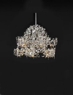 Brand Van Egmond Flower Power chandelier shown in nickel metal. Colors available: black, white, and nickel. Flower Power is handmade with a glass drop design portraying icicles. Made in Europe. Italian Chandelier, Luxury Chandelier, Italian Lighting, Contemporary Chandelier, Chandelier Pendant Lights, Chandeliers, High End Lighting, Modern Lighting, Interior Design Pictures