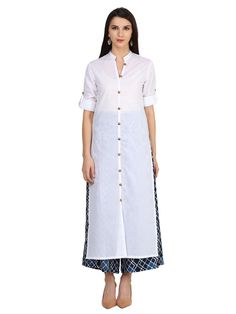 Your savoir faire will be highlighted when you wear this kurta from the house of Castle. Exclusively designed, this kurta will enhance your looks and its soft cotton will keep you comfortable. Pair it with Indigo Plazzo or contrast leggings and sandals to get complimented for your classy choice.