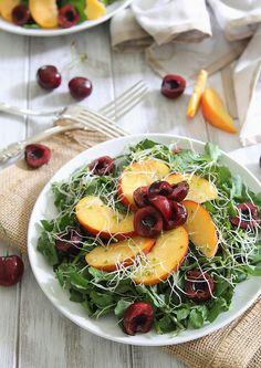 Peach and cherry watercress salad.