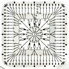 crochet square diagram patron cuadrado de ganchillo