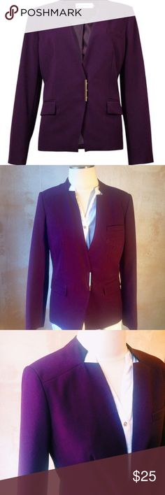 Calvin Klein Notched Collar Gold Bar Blazer Anne Klein /Calvin Klein Blazer in Like New Condition! Perfect for adding that pop of color into your professional wardrobe. Modern fit and styling throughout, note Gold bar closure in front. Open to reasonable offers. 62% Polyester/35% Rayon/3% Spandex Full lining: 100% Polyester Three snap front Front pockets Notched collar Polyester blend fabric Country of Origin: China Blazer features polyester blend fabric, long sleeves, notched collar…