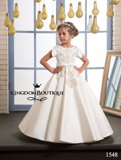 74.25$ Watch now - http://ali5oy.worldwells.pw/go.php?t=32773735061 - Fancy Flower Girl Dress Gold Appliques Formal Christmas Ball Gowns Satin Zipper V Back Pageant Dresses for Girls Glitz 0-12 Year 74.25$