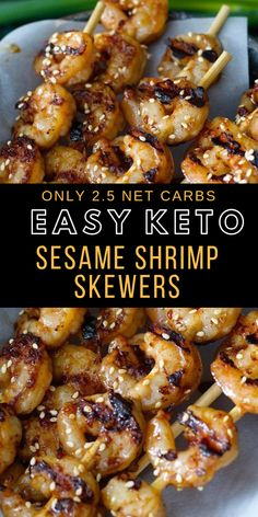 These Sesame Shrimp Skewers are the perfect keto, gluten free dish for busy nights! Only 5 ingredients and a few minutes to make! Just 2.5 net carbs per two skewers! #keto #mealprep #healthyrecipe #lowcarb