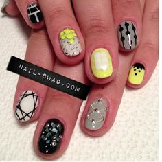 Super pumped on the new set by Natalie Minerva of Nail Swag. Some serious girl talk went down while these were getting done. via theholynail