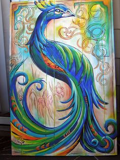 Peacock Painting by Sarah Bosserman