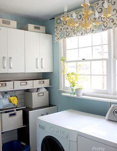 I love the blue and yellow together (laundry room)