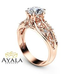 14K Rose Gold Engagement Ring Unique Engagement by AyalaDiamonds