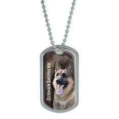 German Shepherd - GSD Dog Pet - Brown Background Military Dog Tag Keychain *** Click image for more details. (This is an affiliate link and I receive a commission for the sales)